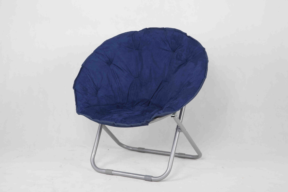 Blue Floding Kids Playroom Furniture Chair With  Iron Frame And Fabric Seat